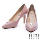 高跟鞋 HELENE SPARK 素面V口造型羊皮尖頭高跟鞋-粉