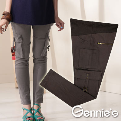 【Gennie's奇妮】率性口袋棉質孕婦秋冬長褲(G4402)