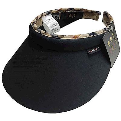 DAKS 經典字母布標LOGO格紋頭圍滾邊造型遮陽帽(黑色)