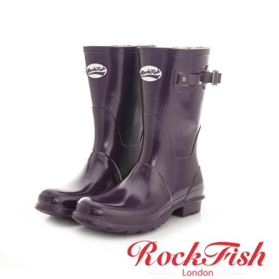 ROCKFISH 質感亮面短筒雨靴 酷色系列 神秘紫