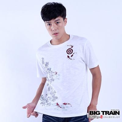 BIG-TRAIN-魚游花水木短袖T-男-白色