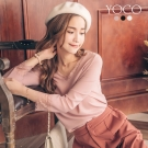 東京著衣-yoco 細節美人睫毛蕾絲多色素面上衣-S.M.L(共三色)