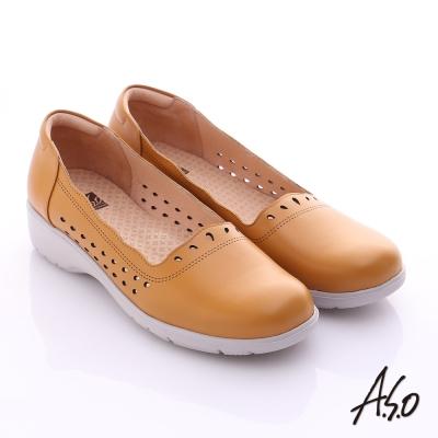 A.S.O 3E健康鞋 真皮水滴雕花寬楦奈米休閒鞋 茶色