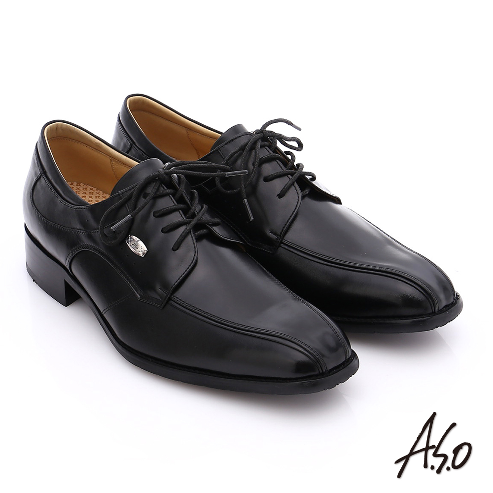 A.S.O 超輕雙核心 牛皮小方楦綁帶奈米紳士鞋 黑色