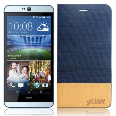 VXTRA HTC Desire 826 牛仔紋拼接側翻皮套