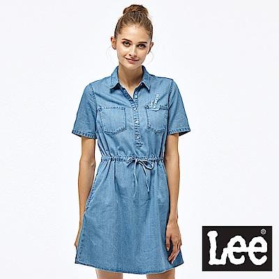 Lee 牛仔短袖連身洋裝-女款-藍