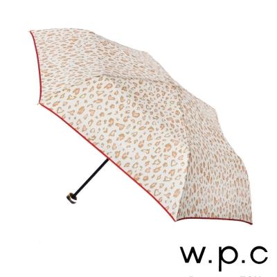 w.p.c 心型豹紋*晴雨兩用輕量防風手開三摺傘 (米白)