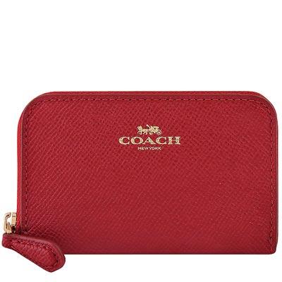 COACH 紅色防刮皮革拉鍊名片夾/零錢包