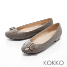 KOKKO-腳尖輕舞菱格紋金屬釦平底鞋-迷情灰
