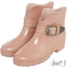 Ann'S漫步雨天-復古雕花金屬釦V口短筒雨靴-粉杏