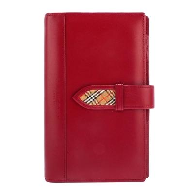 BURBERRY限量年份筆記頁皮革穿扣手帳冊-紅色