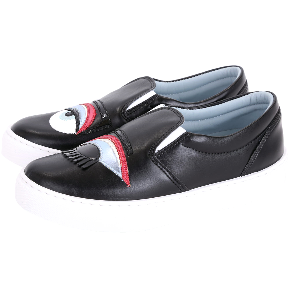 Chiara Ferragni Flirting 眨眼撞色眼影造型厚底鞋(黑色)