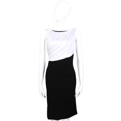 VERSACE 黑x白色垂墜設計無袖洋裝