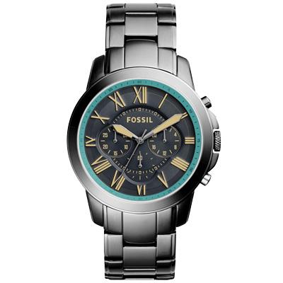 FOSSIL 古典伯爵三環計時腕錶-灰藍x銀框x不鏽鋼帶/44mm