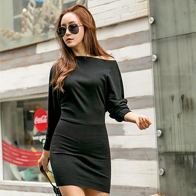 正韓-一字領飛鼠長袖包臀連身裙-黑色-N-C21