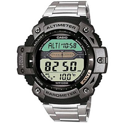 CASIO 登峰測高抗溫數位休閒錶(SGW-300HD-1A)-不銹鋼款