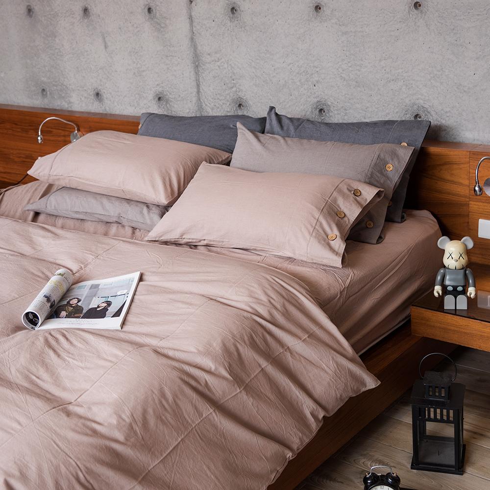 OLIVIA  原色 可可 雙人床包被套四件組  色織水洗棉