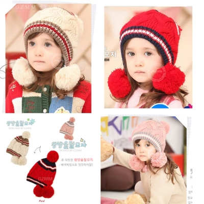 韓版-秋冬季新款寶寶彩色三球毛線帽(玫紅)