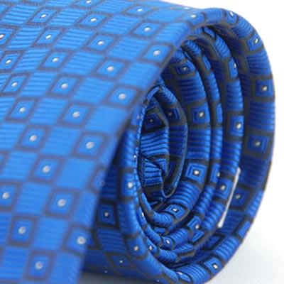 Alpaca 藍底方格白點領帶