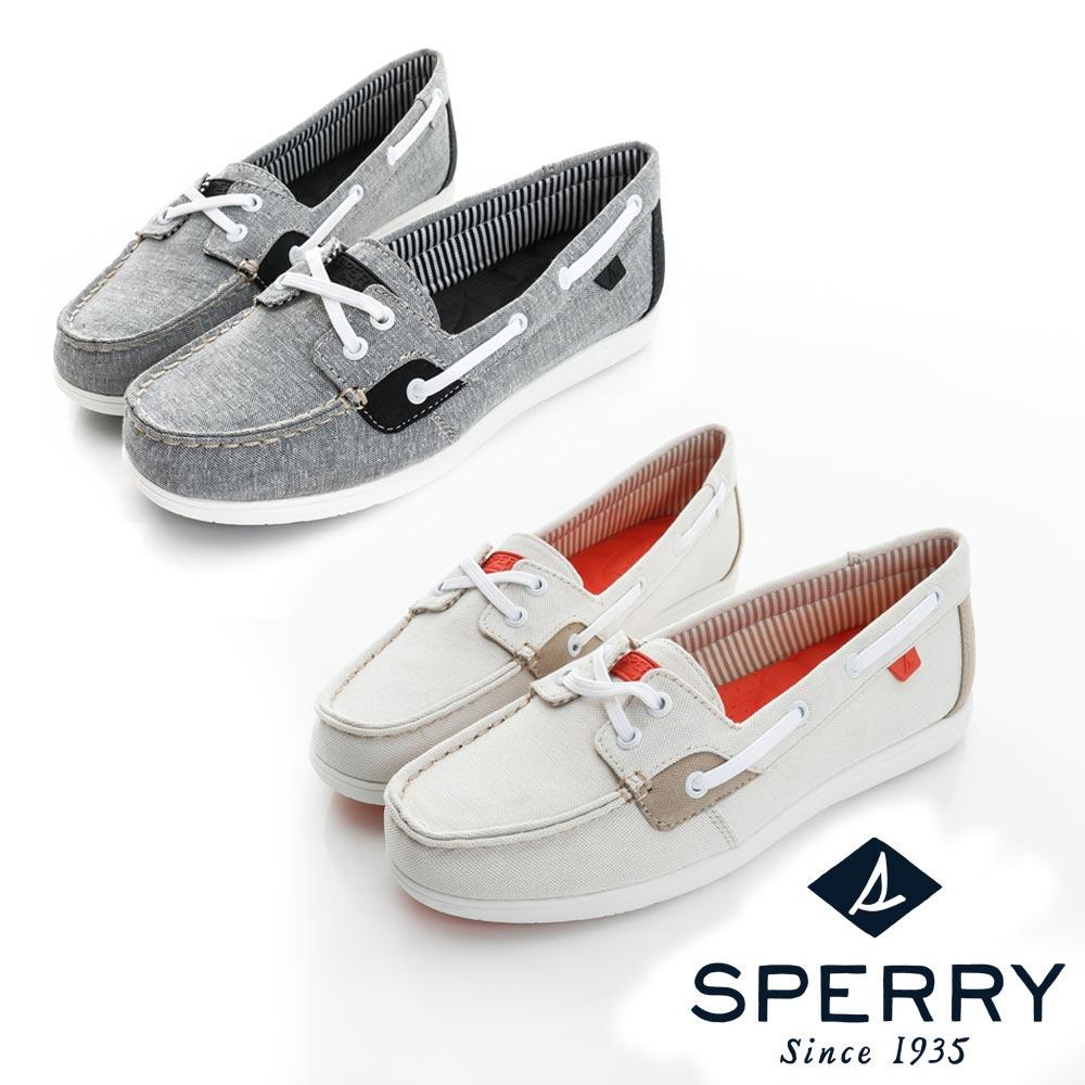 SPERRY超輕量舒適休閒布面帆船鞋女-兩色可選