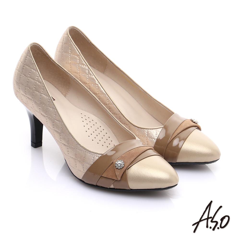 A.S.O 甜蜜樂章 全真皮菱格壓紋鑽飾高跟鞋 卡其