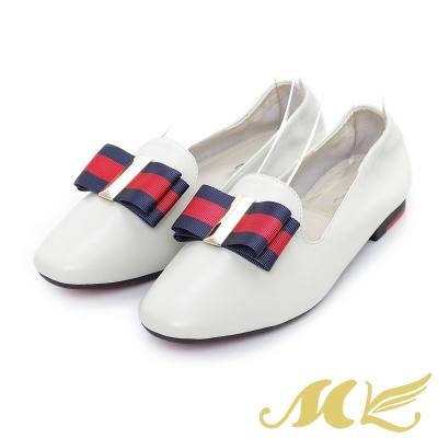 MK-Q彈系列-英倫蝴蝶結彈性平底鞋-米色