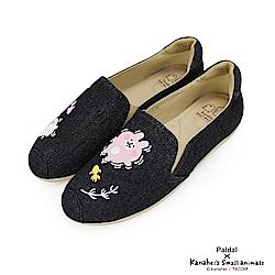 Paidal x 卡娜赫拉的小動物 -夏夜金魚休閒鞋樂福鞋-牛仔黑