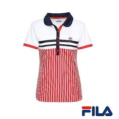 FILA女性吸排抗UV條紋POLO衫(活力紅)5POR-1007-RD