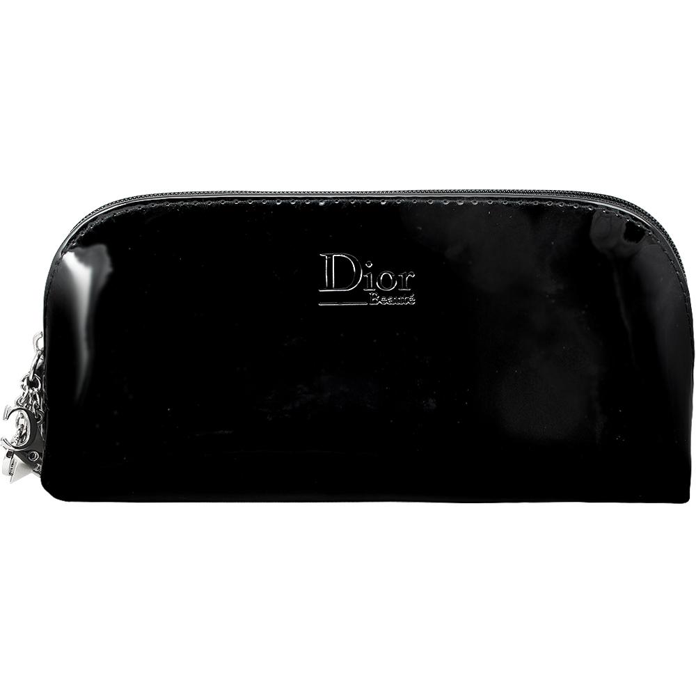 Dior 迪奧 幸運星LOGO墜飾漆皮筆袋化妝包(黑)