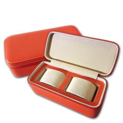 細緻質感手錶拉鍊真皮收納包 兩入錶枕 - 橘色