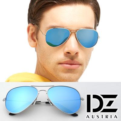 DZ 復古饗宴 抗UV 偏光太陽眼鏡墨鏡(銀框冰藍膜)