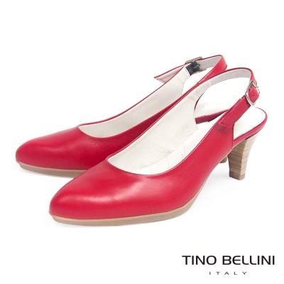 Tino Bellini 西班牙進口舒足真皮OL跟鞋 (6.5cm後拉帶款)_紅