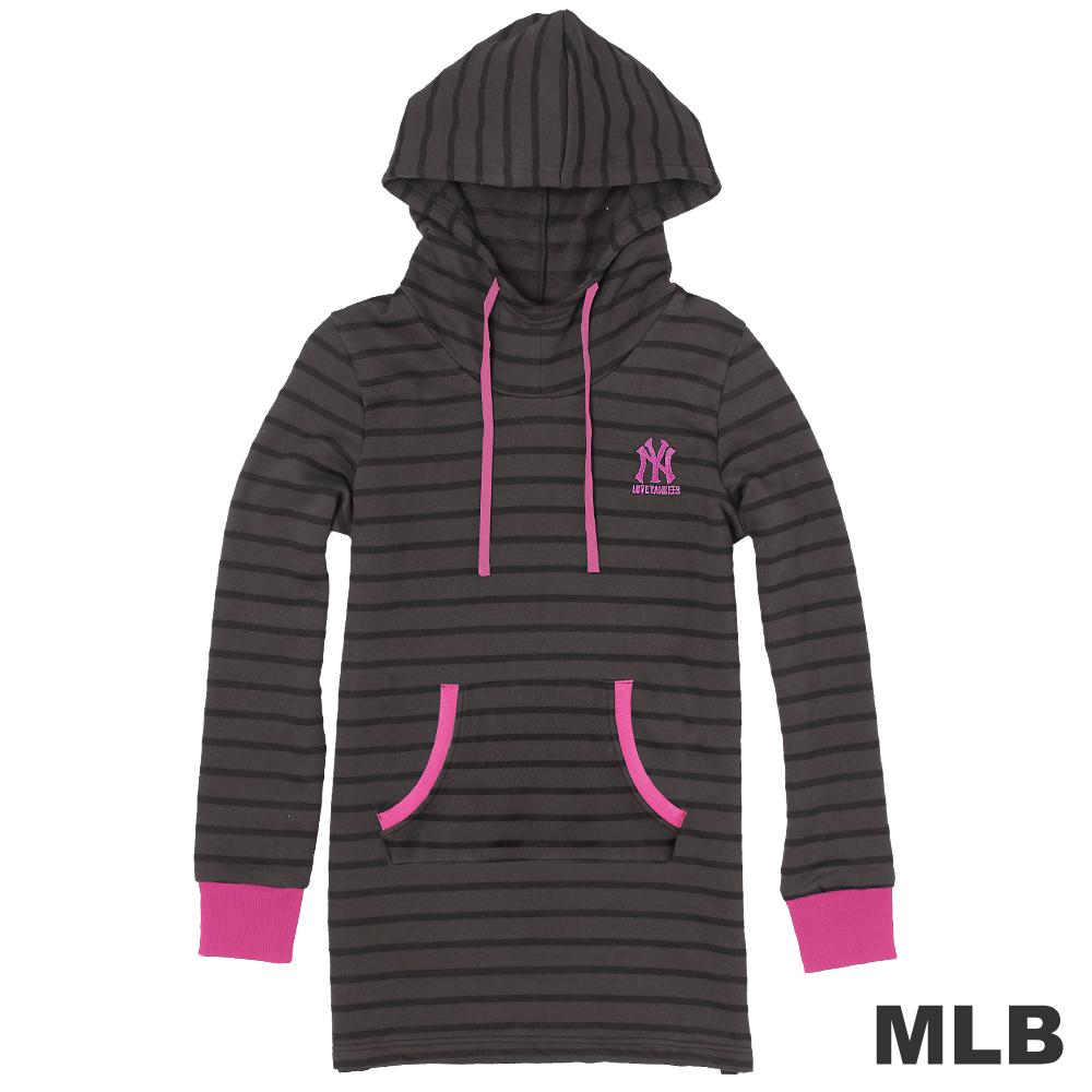 MLB-紐約洋基隊舒適長版連帽T-黑(女)