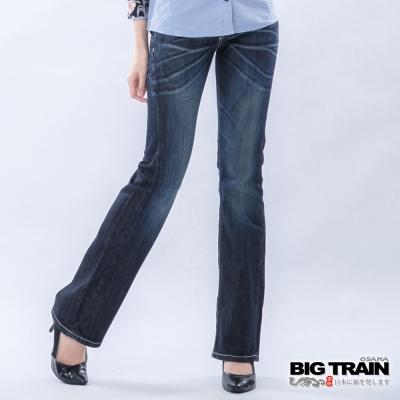 BIG TRAIN-女款 低腰袋蓋打釘靴型褲-深藍