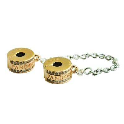 Pandora 潘朵拉 logo玫瑰金夾扣安全鍊