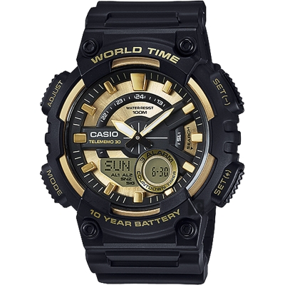 CASIO卡西歐 10年電力世界時間碼錶-金x黑/52.2mm
