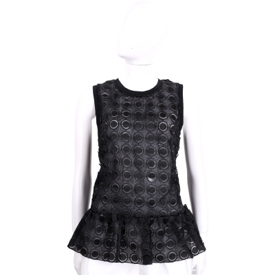 PINKO 黑色圓點設計紗質無袖上衣