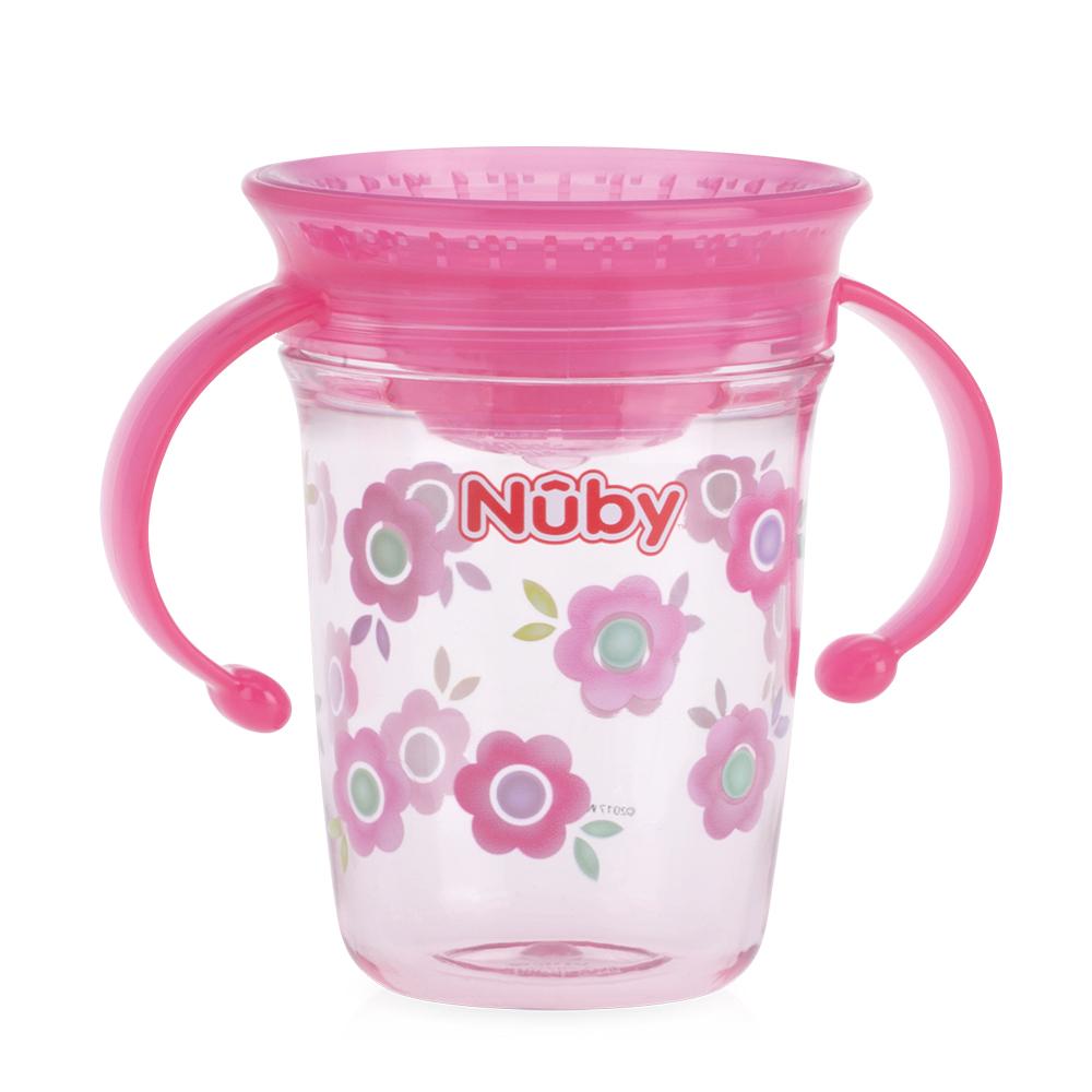Nuby 晶透360度喝水杯240ml-粉(6M+)