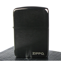 【ZIPPO】美系~LOGO字樣-黑冰1941復刻版打火機