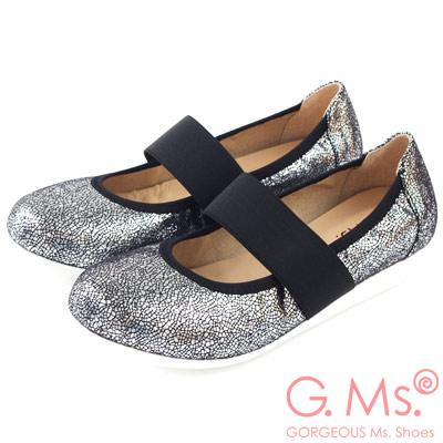 G.Ms. MIT系列-閃亮爆裂紋瑪莉珍娃娃鞋-潮流銀