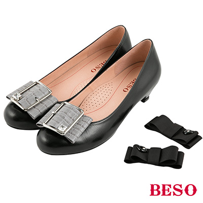 BESO 知性浪漫 2ways氣質典雅全真皮換扣低跟鞋~黑