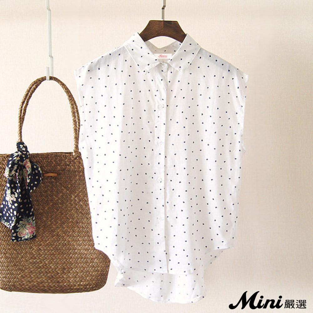 襯衫 棉麻不規則印花連袖上衣 白色-Mini嚴選