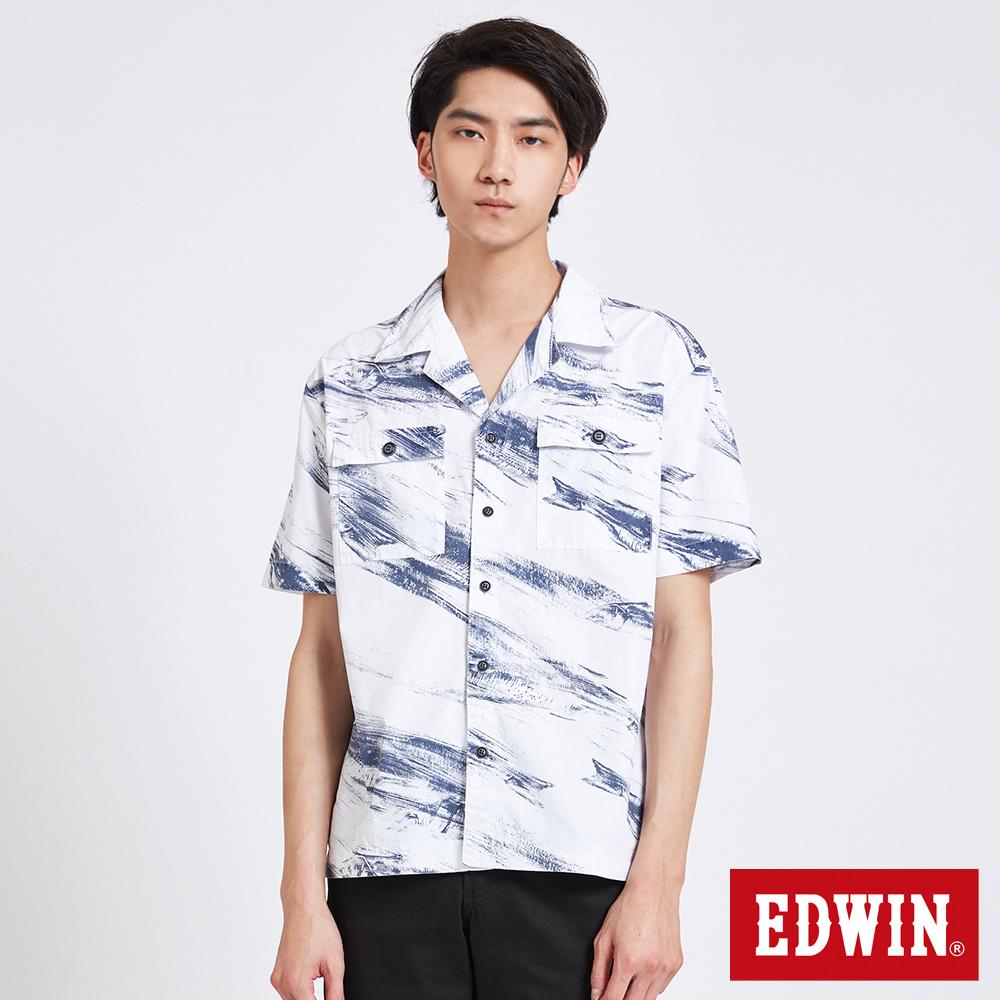 EDWIN 築地系列魚拓印花短袖襯衫-男-白色