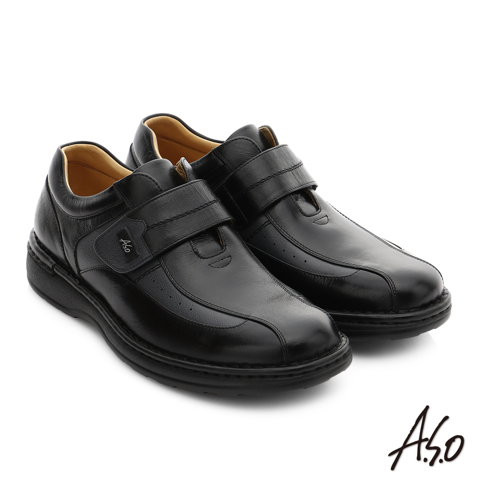 A.S.O 抗震雙核心 全牛皮超輕抗震休閒皮鞋 黑色