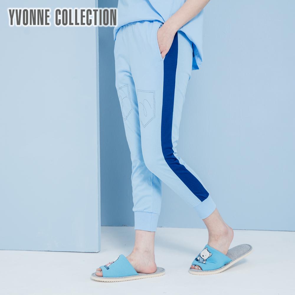 YVONNE側身直條紋八分褲- 灰藍