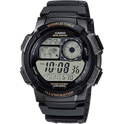 CASIO卡西歐 10年電力世界時間手錶-黑/48.1mm
