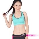 Leader 女性專用 機能壓縮可拆胸墊運動背心 亮綠色