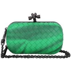 BOTTEGA VENETA KNOT 刷色編織手拿鍊帶包(翡翠綠)