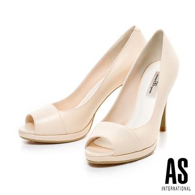 AS-時尚典雅美型素面羊皮魚口高跟鞋-米