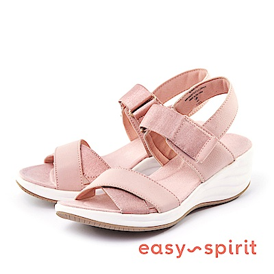 Easy Spirit--交叉帶魔鬼氈楔型涼鞋-櫻花粉